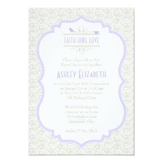 White Purple Lace First Communion Invitation