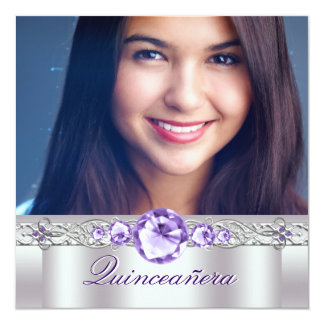 White Purple Photo Quinceanera Invitaitons 13 Cm X 13 Cm Square Invitation Card