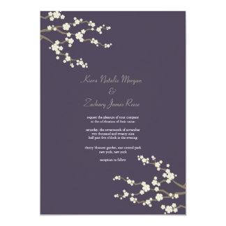 White Purple Sakura Cherry Blossoms Wedding Invite