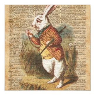 White Rabbit Alice in Wonderland Vintage Art 13 Cm X 13 Cm Square Invitation Card