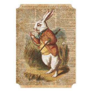 White Rabbit Alice in Wonderland Vintage Art 13 Cm X 18 Cm Invitation Card