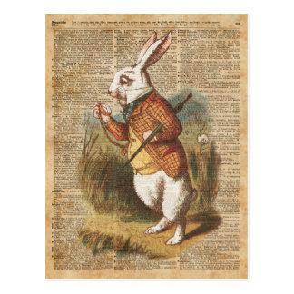 White Rabbit Alice in Wonderland Vintage Art Postcard
