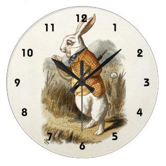 White Rabbit from Alice In Wonderland Vintage Art Large Clock