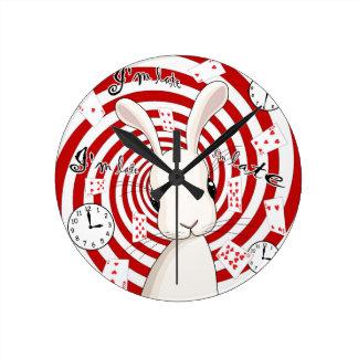 White rabbit in Wonderland Round Clock