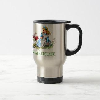 """White Rabbit Rushes by Alice, """"i'm Late, I'm Late"""" Travel Mug"""