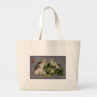 White Rabbits and Giant Cabbage Vintage Easter Large Tote Bag