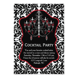 White red chandelier, black damask Cocktail Party Card