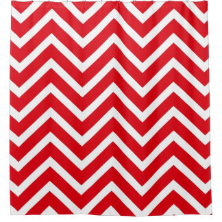 White red chevron  Pattern Shower Curtain