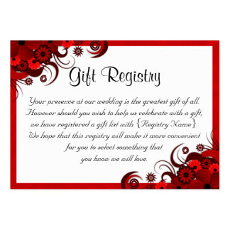 Wedding Gift List Nz : ... and White Wedding Registry Business Card Templates Zazzle.co.nz