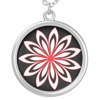 White & red flower personalized necklace