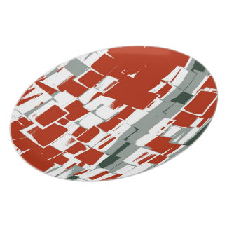 White Red Painting Retro Abstract Dinner Plate
