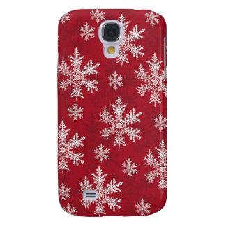 White & Red Snowflake Design Galaxy S4 Case