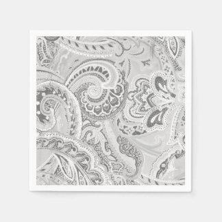 White Retro Paisley Bandanna/Bandana Paper Serviettes