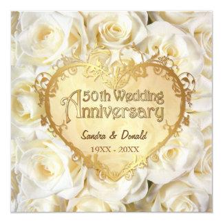 White Rose 50th Wedding Anniversary 13 Cm X 13 Cm Square Invitation Card