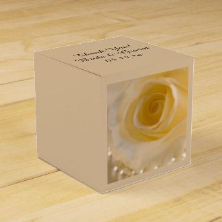 White Rose and Pearls Wedding Favor Box Wedding Favour Box