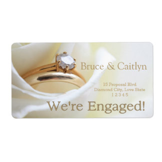 white rose and rings engagement announcement shipping label