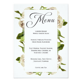 White Rose Bouquet Floral Wedding Menu 14 Cm X 19 Cm Invitation Card