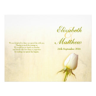 White rose bud wedding programme