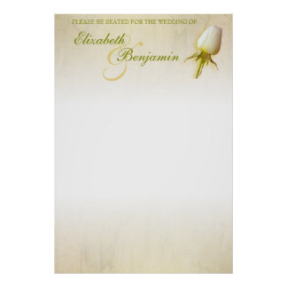White Rose Bud Wedding Seating Table Planner blank Poster