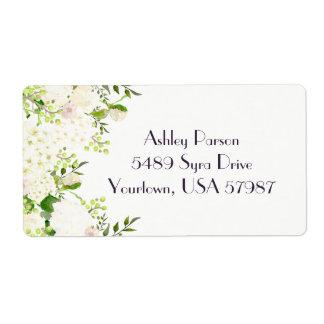 White rose hydrangea Floral return address label