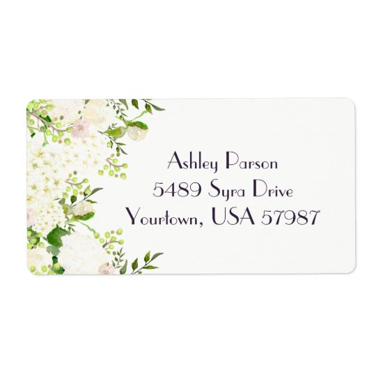 White rose hydrangea Floral return address label