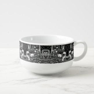 White Rose in Black Garden  Soup Mug