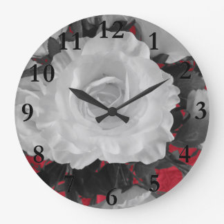 white rose on red large clock