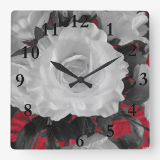 white rose on red square wall clock