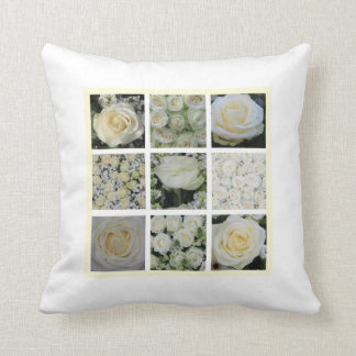 White rose square collage pillow single side