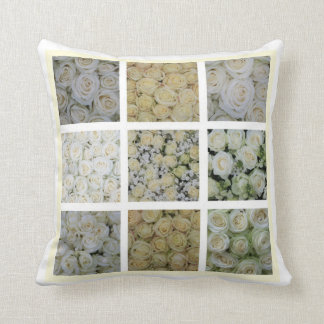 White rose square collage throw pillow