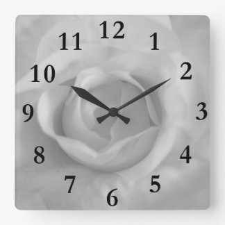 white rose square wall clock