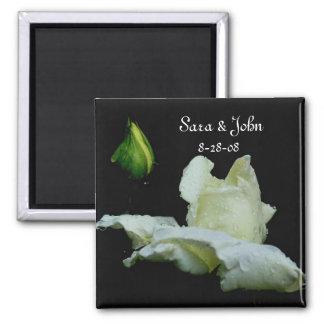 White Rosebud Flower Wedding Favor Magnet