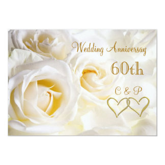 White roses 60th Wedding Anniversary Invitation