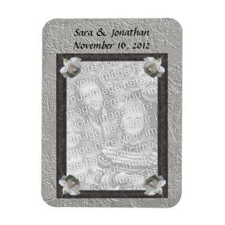 White Roses Frame Wedding Favor 3x4 Magnet