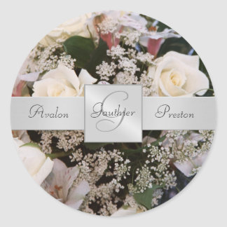 White Roses Monogram Wedding Sticker