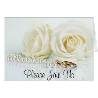 White Roses, Pearls & Wedding Bands - Invitation