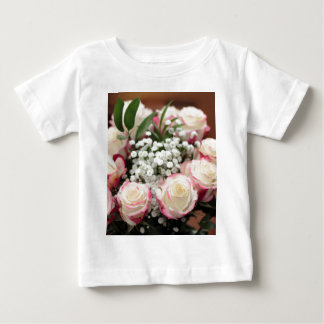 White Roses with Red Highlights Closeup Baby T-Shirt