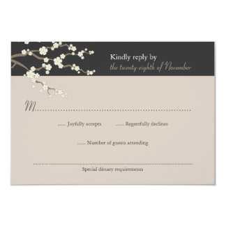 "White Sakura Cherry Blossom Wedding RSVP Card 3.5"" X 5"" Invitation Card"