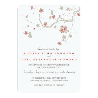 White Sakura Wedding Invitation Card