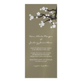 """White Sakuras Cherry Blossom Wedding Invitation 4"""" X 9.25"""" Invitation Card"""
