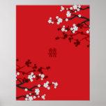White Sakuras Chinese Wedding Poster