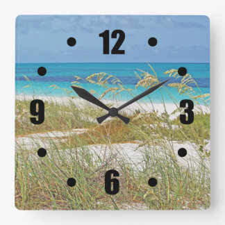 """WHITE SAND BEACH, SEA GRASS, BLUE-GREEN WATER"" SQUARE WALL CLOCK"