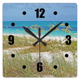 """""""WHITE SAND BEACH, SEA GRASS, BLUE-GREEN WATER"""" WALL CLOCK"""