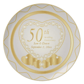 White Satin and Gold 50th  Anniversary Dinner Plate