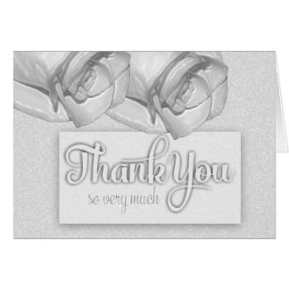 White Satin RosesThank You So Very Much Note Card