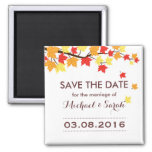 White Save The Date Maple Leaf Fall Wedding Magnet
