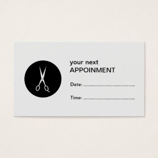 White Scissors Black Dot Appointment Card