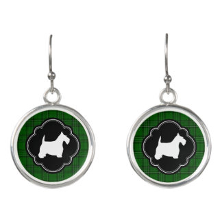 White Scottie on Green Plaid Earrings