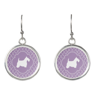 White Scottie on Lavender Earrings
