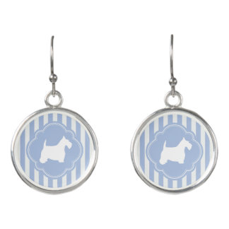 White Scottie on Pale Blue Stripes Earrings